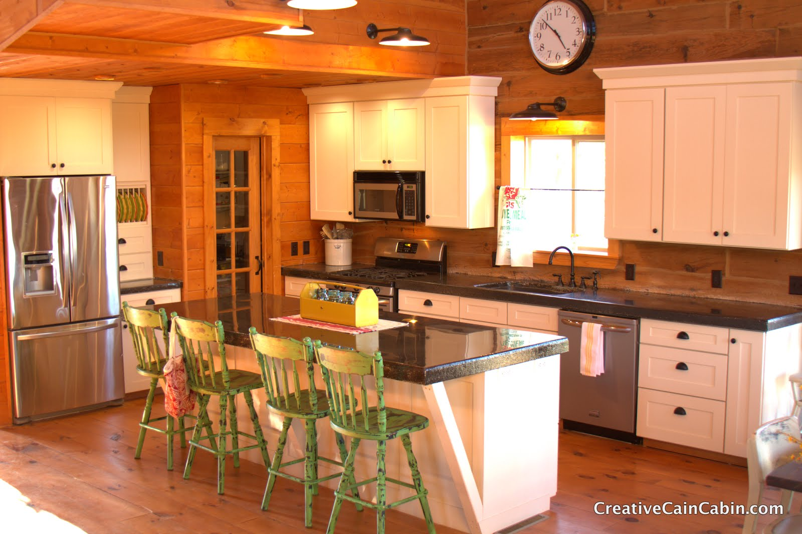 White Kitchen In A Log Home