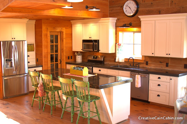 White Kitchen In A Log Home CREATIVE CAIN CABIN Enchanting Cabin Kitchen Design Creative
