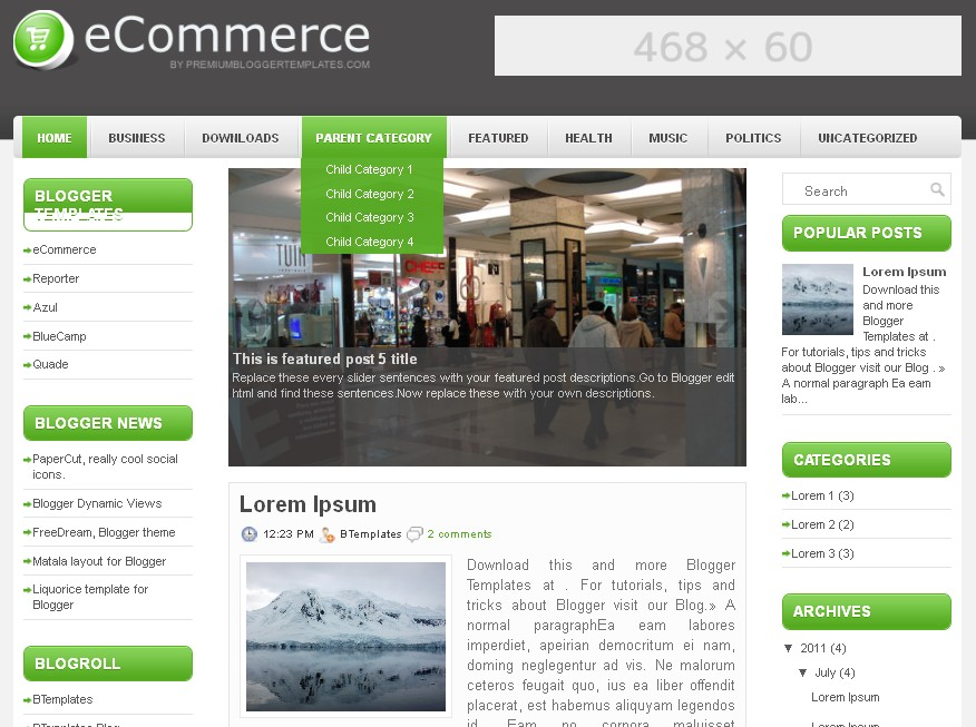 ecommerse premium blogger template free
