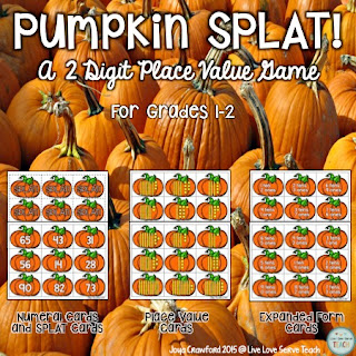 pumpkins, place value, math, math stations, math games, 2 digit place value, fall, first grade, second grade, third grade