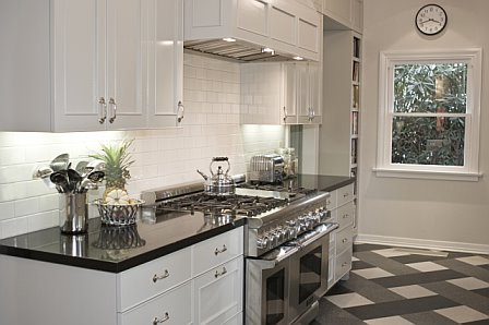 Kitchen White Cabinets High Gloss Black Marble Counter Tile Grey White