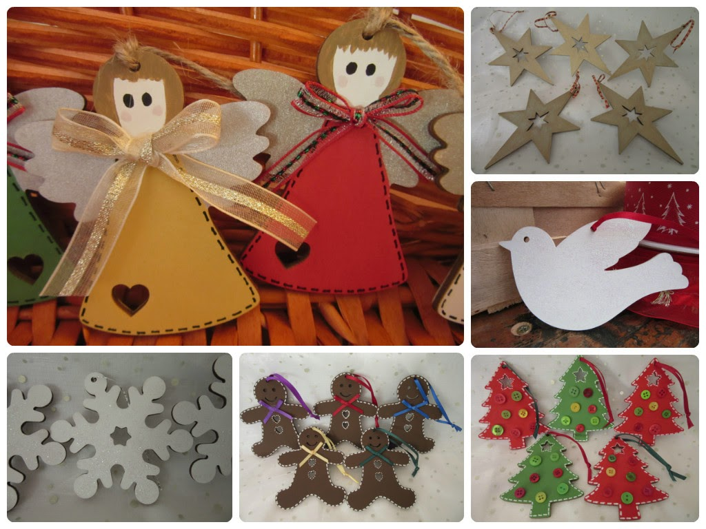6 photos of painted wooden Christmas decorations