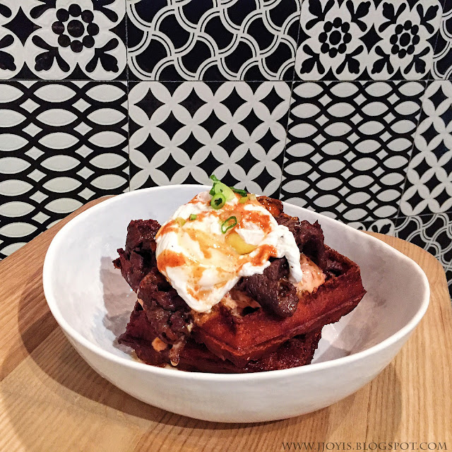 montana brew bar review pomo bulgogi beef waffles with poached egg