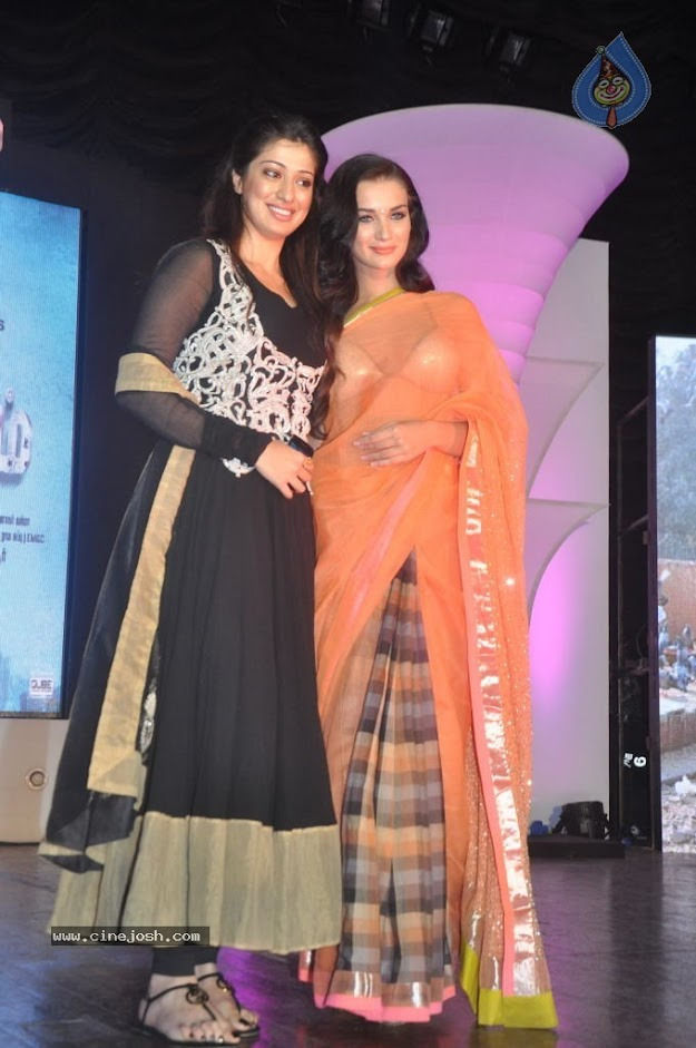 Amy Jackson in orange transparent saree - (14) -  Amy Jackson in Orange Transparent Saree at event
