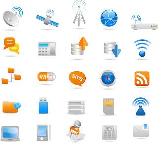 ワイヤレス コミュニケーション アイコン Wireless and Communication Icon Set