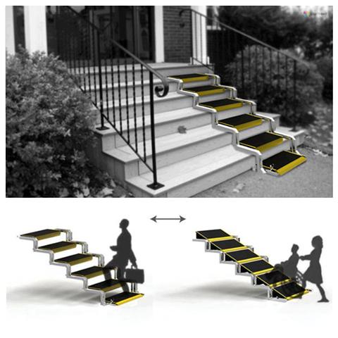 objetos de diseño, escalera, rampa