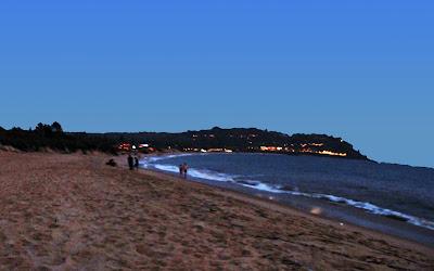 evening beach scene