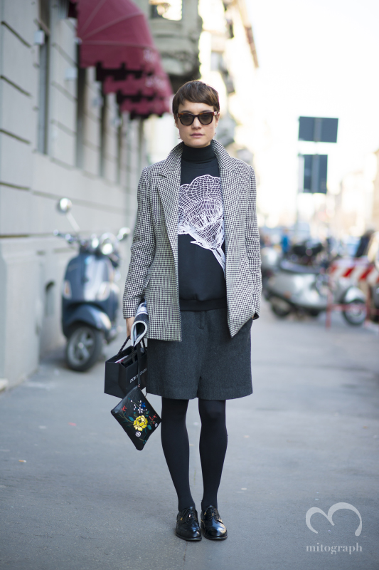 Vogue Turkey Fashion Director Konca Aykan after Dolce and Gabbana show during Milan Fashion Week 2014 Fall Winter MFW