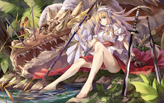 Beautiful Girl Female Katana Sword Dragon Blonde Hair Anime HD Wallpaper Desktop PC Background 1693