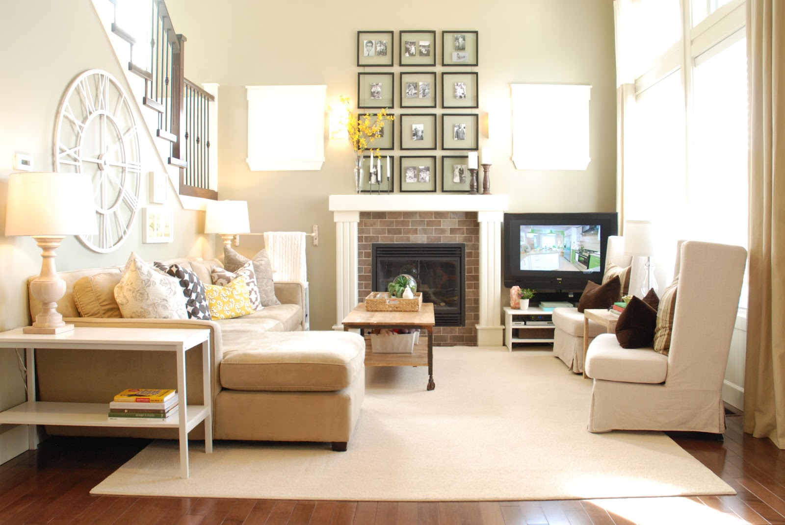 ... the way, heres the new, more neutral/rustic look of our living room