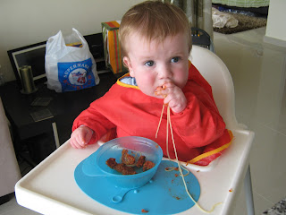 baby led weaning, spaghetti