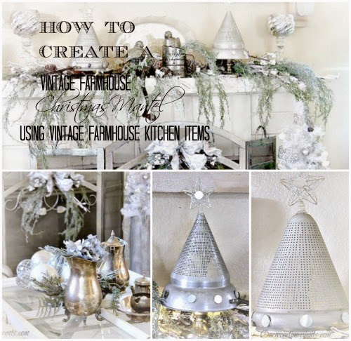 How to Create Vintage Farmhouse Christmas Mantel at One More Time Events.com