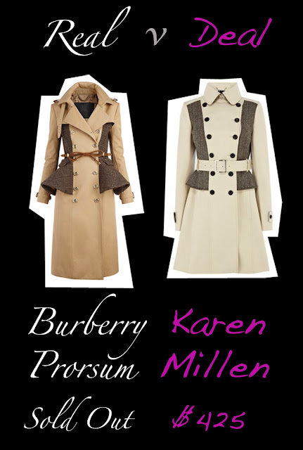 Real burberry trench verse Deal Karen Millen trench