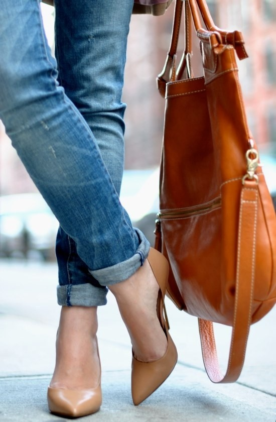 Tan color bag and shoes with denims