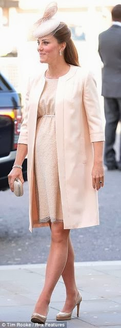 Catherine Middleton wears a peach empire-style Jenny Packham coat and dress, June 2013