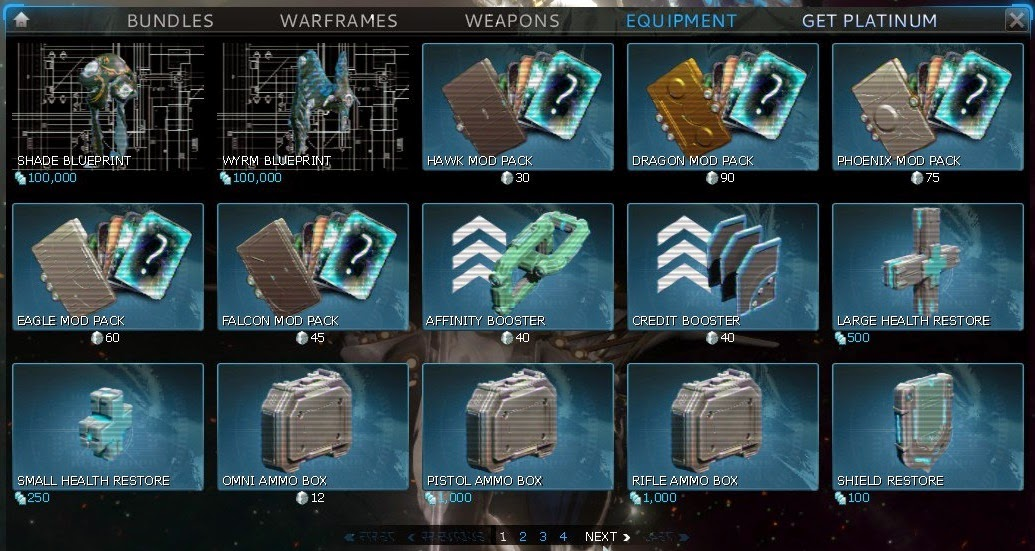 Warframe slot order