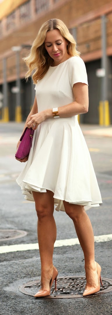 Classic White Dress with Nude Heels and Bridal Inspiration | Chic Street Outfits