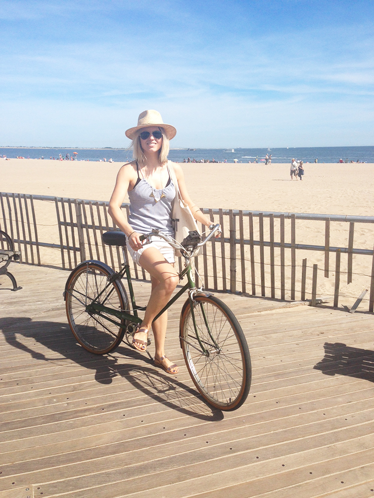 Green vintage Schwinn bicycle, Coney Island Boardwalk, pastels, summer, Ancient Greek Sandals rose gold, straw hat