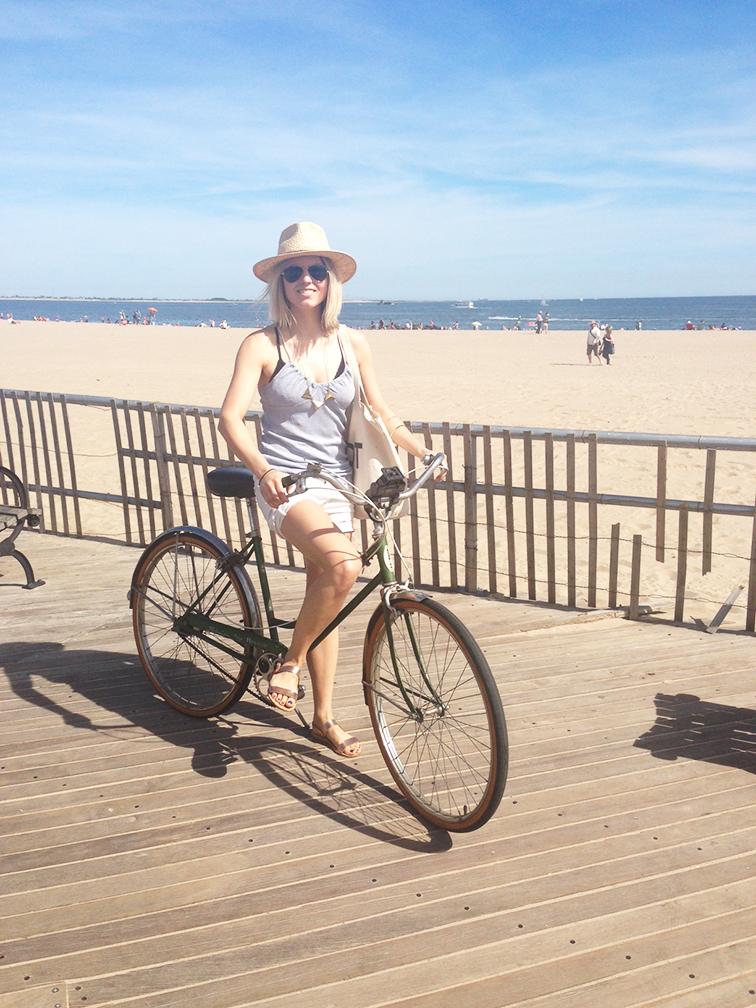 Green vintage Schwinn bicycle, Coney Island Boardwalk, pastels, summer, Ancient Greek Sandals rose gold, straw hat