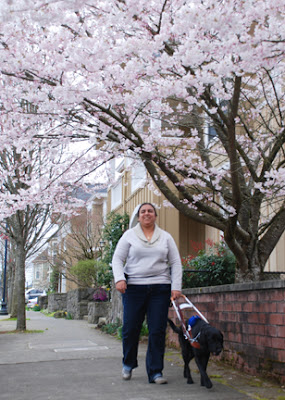 Amelia and Guide Dog Valeria walk down the street