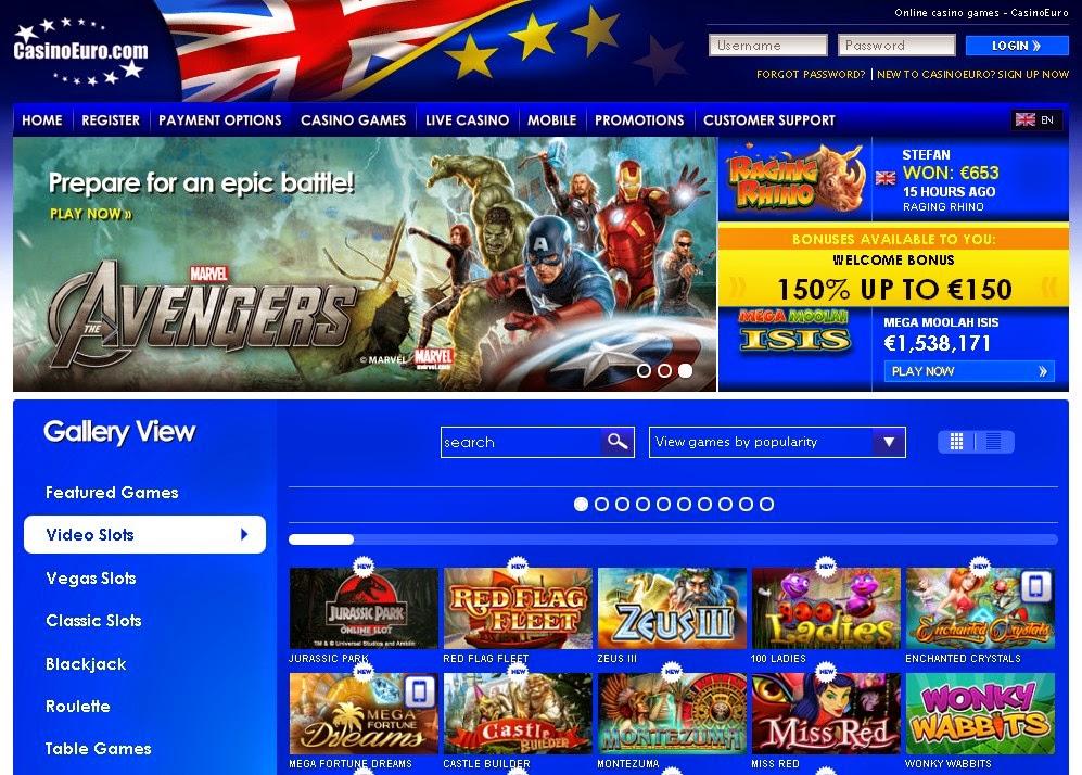 CasinoEuro Slots Games Screen