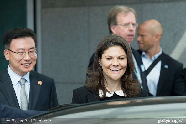 Crown Princess Victoria of Sweden is seen upon arrival at Incheon International Airport