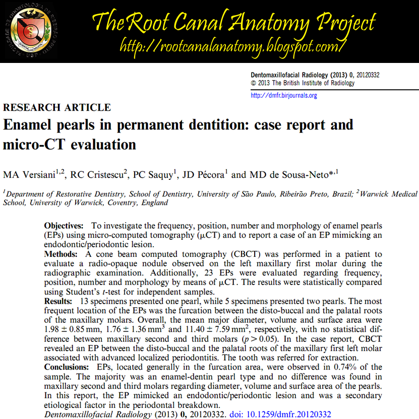 The Root Canal Anatomy Project: Enamel Pearls in Permanent Dentition