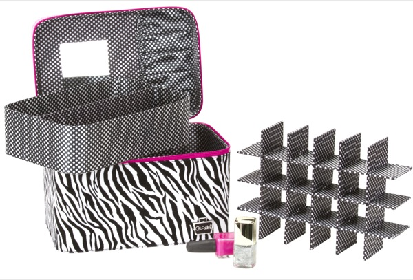 Nails by kayla shevonne storage solution for smaller polish this nail polish storage case is called the caboodles gilded pleasure nail valet and it features a hot pink zippered top with black and white fuzzy zebra prinsesfo Gallery