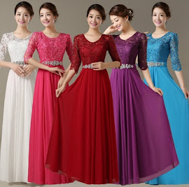 Simple Half Sleeve Round Neck Crochet Rose Top Chiffon Maxi Dress
