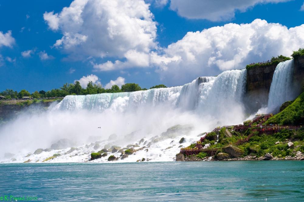 Обои зима снег дерево водопад Ниагарский водопад