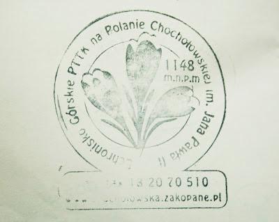 Schronisko PTTK na Polanie Chochołowskiej - pieczątka