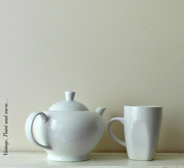 Vintage, Paint and more... plain teapot and mug turned into a chic monogrammed set with a sharpie marker