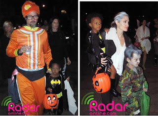 Brad Pitt and Angelina Jolie trick or treating with their kids