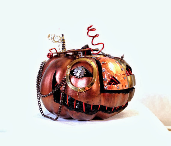 """Steam punk Halloween Pumpkin Art with Monocle "" by Melanie McCullough"