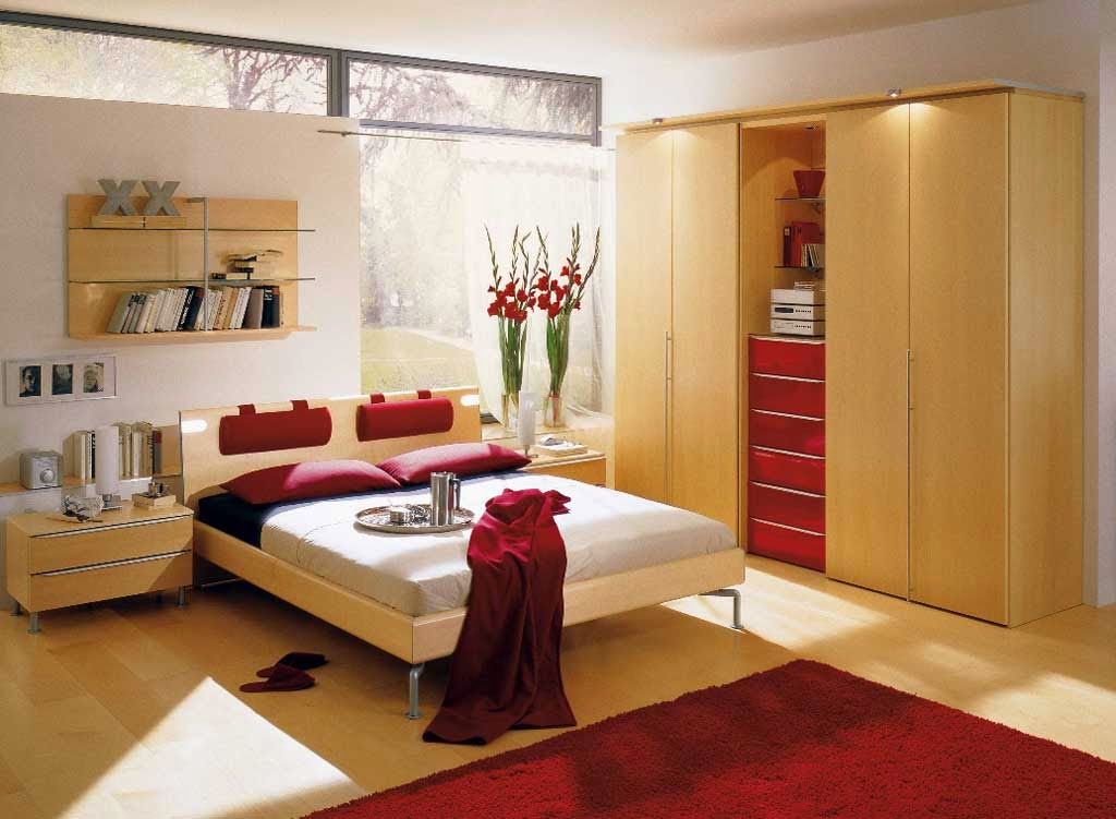 Main Bedroom Decorating Color Red Wood Furniture Minimalist