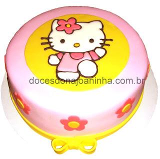 Bolo decorado Hello Kitty desenho estampado sobre o bolo
