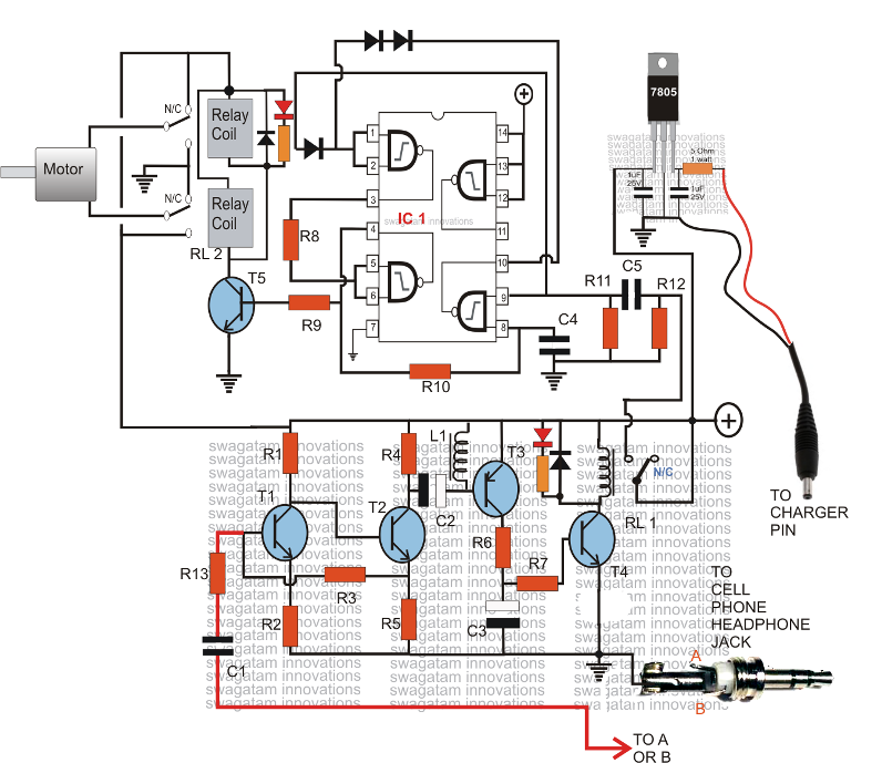 controlling motor a cell phone circuit diagram explained tis will make the unit immune to unknown numbers or wrong numbers and the owner will be the sole controller of the attached circuit and the motors