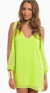 Breezy B Dress (Lime) Cold shoulder Wild-Society