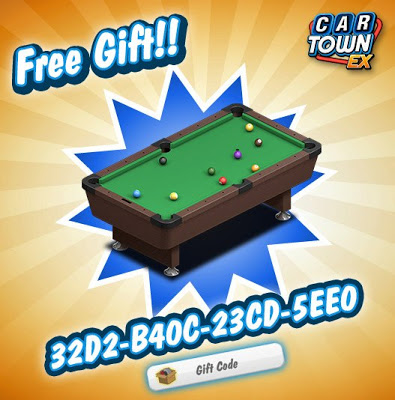 Car+Town+EX+Free+Gift+Code+Pool+Table