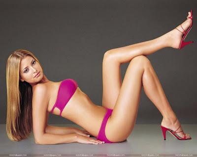 Holly Valance Wallpaper in Pink Bikini