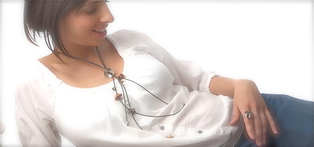 coleccion Stimuls joyas de plata al dente collar y anillo