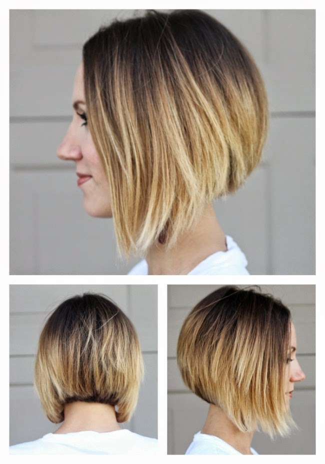 Short, angled ombre bob from all sides