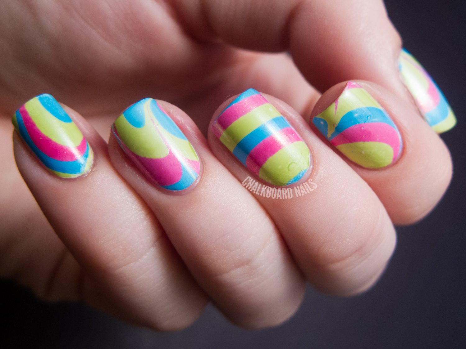 31dc2012 Day 20 Water Marble Chalkboard Nails Nail Art Blog