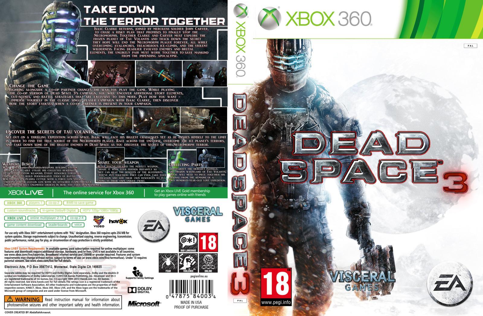 Capa Dead Space 3 Xbox 360 ~ Gamecover | Download de capas para jogos