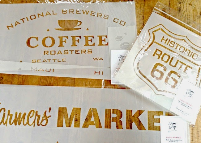 DIY Stenciled Burlap Memo Board with Old Sign Stencils using a coffee stencil