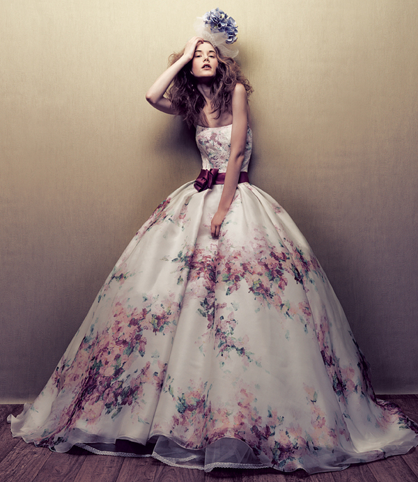 printed wedding dress