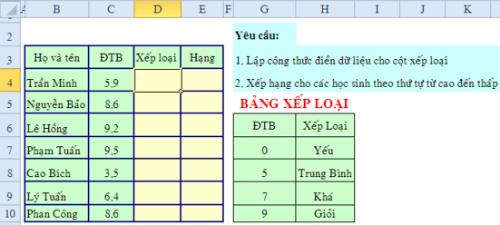 Bài tập Excel cơ bản và nâng cao có lời giải