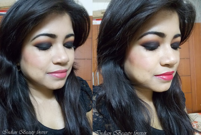 Party makeup: Smokey black eyes with Red/Neutral lips