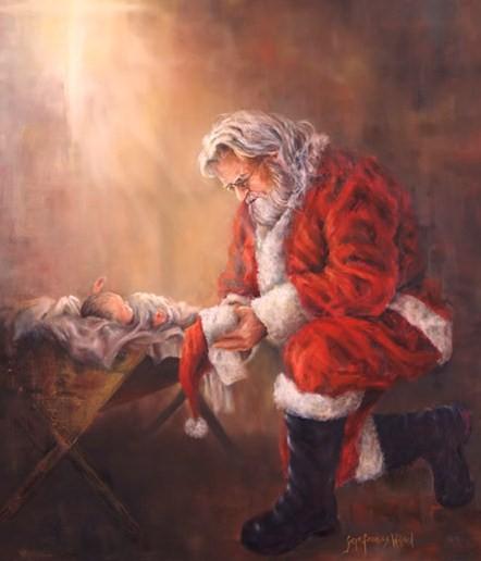Santa Kneeling At The Manger Of Baby Jesus Drawing Art