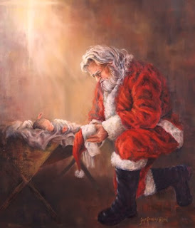 Santa kneeling at the manger of baby Jesus color drawing picture